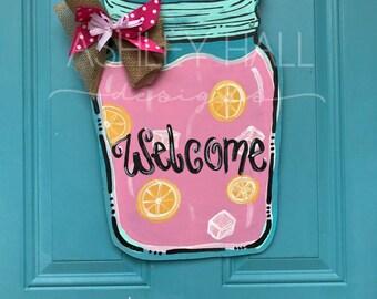 Pink Lemonade Mason Jar Door Hanger
