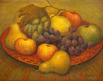 Oil on Canvas Original Signed Painting by Marina Grigoryan Fruits Unique Art