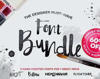 Font bundle script fonts including hand lettered fonts