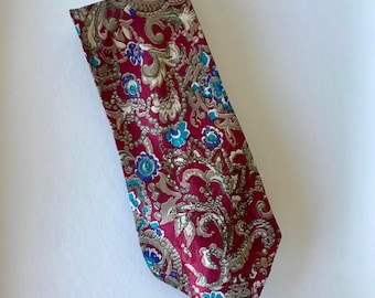 Mens Retro 80s Tie Floral and Leaves Red and Blue Organic Design - Retro Polyester Neck Tie - 1980s