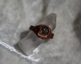 Spaced Out Tourmaline Electroformed Copper Ring