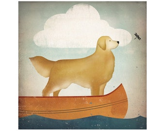 Golden Retriever Canoe Ride GRAPHIC ART Giclee Print 12x12 Signed