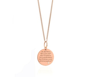 Mad Hatter rose gold necklace, Mad Hatter jewellery, Lewis Carroll Necklace, Alice In wonderland,  poetry necklace, Literary Gifts,