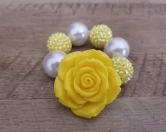 Yellow Chunky Bracelet, Baby Bracelet, Yellow Chunky Necklace, Birthday, Cake Smash Bracelet, Photo Prop, Rose Bracelet, You are my sunshine