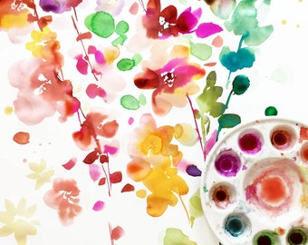 Original Watercolor Painting Watercolor Flowers Original Art Floral Spring Decor One of a Kind CreativeIngrid