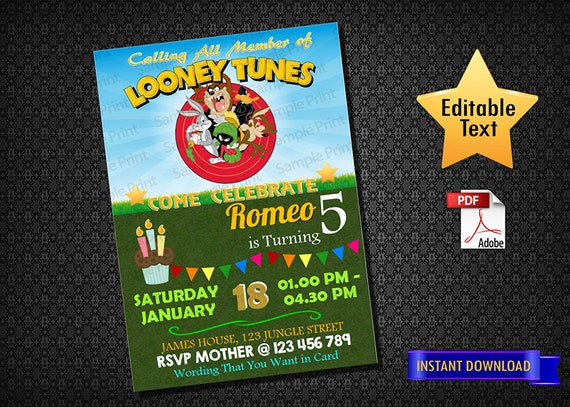 INSTANT DOWNLOAD Looney Tunes Invitation Looney Tunes Movie