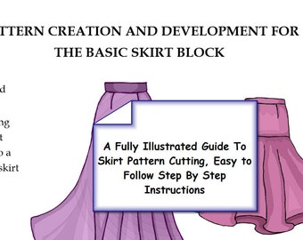 Downloadable PDF Workbook, SKIRT Pattern Cutting Tutorial Guide,Quarter and Half Scale Practice Blocks To Print, Become a Pattern Cutter
