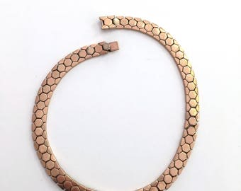 Crown Trifari  Necklace Alfred Philippe  tessellation honeycomb Geometric Patent 143,349 Antique necklace Rose Gold