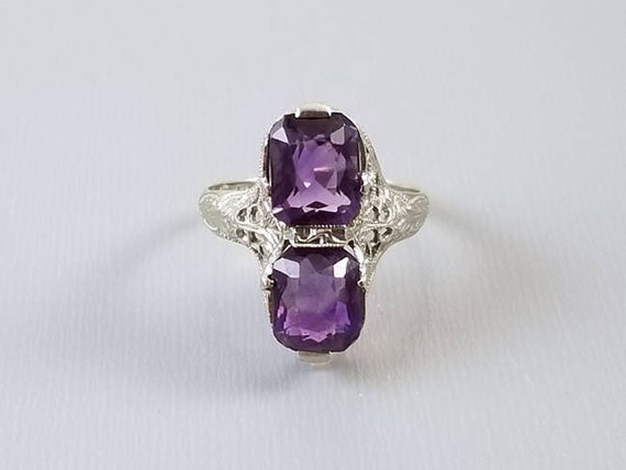 Vintage Art Deco 14k white gold filigree cushion cut amethyst statement ring, maker signed E.L. Logee of Providence, Rhode Island, size 6.5
