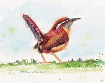 Carolina Wren art, backyard bird wall decor, bird lover gift, wren art, bird art, bird wall decor, wren painting, ellen brenneman