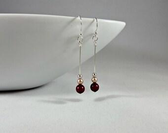 Blackberry Almond Swarovski Pearl Drop Earrings