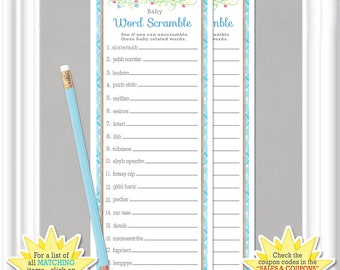 WORD SCRAMBLE Baby Shower game with blue accents, Cottage or vintage style baby shower game, Instant Download diy Printable, 13BA