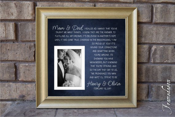 Thank you parent gift - Mom Dad Wedding frame - I Realize as I Marry  Picture Frame - Parent Gift - Parents - Thank You Gift - 15x15
