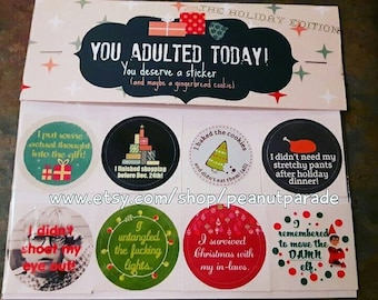 You Adulted Today! [TM] Holiday Adulting Reward Stickers Christmas Funny Peanut Parade