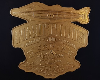 20,000 Leagues Under The Sea Ride Inspired Sign / Plaque - Hammered Gold Coloring ( Vintage Disney World Inspired Prop Replica )