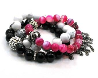 Stacking Charm Bracelet, Pink Bracelet Set, Stackable Bracelet, Beaded Bracelet, Layering Bracelet, Gemstone Bracelet, Gift For Her