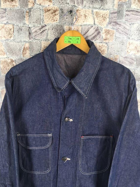 Workers Jeans Vintage Jacket 70s 44 Blue Made Union 1980's Workwear Jacket Large Size Coat BELL Labour BLUE Denim 1PAwPqI