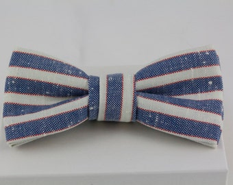 Handmade Bowtie Vintage Red, White Blue Striped Fabric Bow tie Preppy bowtie