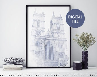 Westminster Abbey, London Watercolour Print Wall Art | Print At Home | Digital Download File