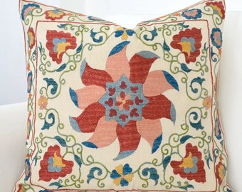 SALE - Silk Hand Embroidered Suzani Pillow Cover, suzani pillow, suzani, suzani cushion, floral, off white , beige, ivory, embroidery pillow