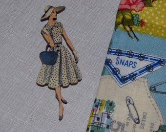 Lady dress black polka dot wood button