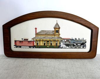 Train Cross Stitch, Train Collectible, Train Station Picture, Train Station Cross Stitch, Train Engine, Caboose -V256