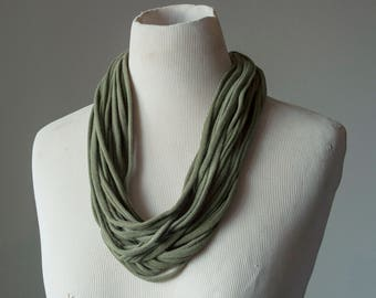 Recycled T-Shirt Necklace Olive Green