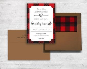 Rustic Wedding - Outdoor Wedding - Lumberjack Wedding Invitation Set - Plaid Wedding Invitation Set - Red and Black - Lumberjack Party Set