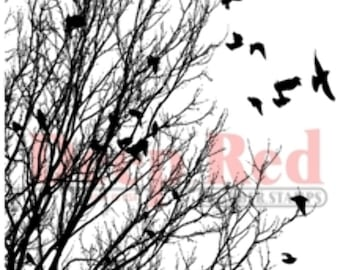 Deep Red Rubber Stamp Raven Flock