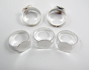 Set of 5 silver plate 12 mm ring 17 mm adjustable rings