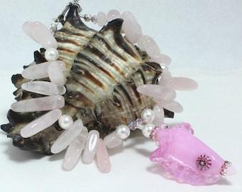 Lampwork Shell Bracelet, Beach Bracelet, Rose Quartz, Swarovski Crystals, Swarovski Pearls, Lampwork Shell