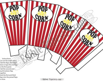 """Red Popcorn Box Printable JPG Vintage Style Template Red White Stripes 5 1/2 X 3 """" Theater Oscar Hollywood Party Retro DIY Party Decorations"""