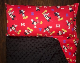 "Personalized Preschool / Kinder Nap Mat in Mickey Mouse fabric with Pillow, Minky Blanket and 1"" memory foam"