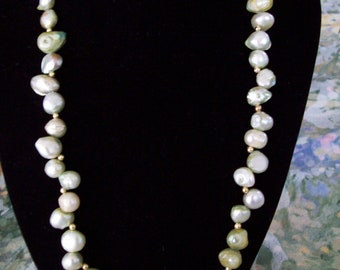 Genuine Pale Green Freshwater Pearl Necklace