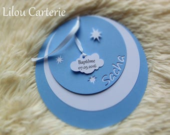 Share birth or christening round stars and cloud patterns