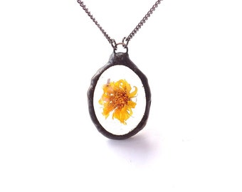 Calendula pendant, marigold necklace, caught in resin, orange flower resin, rustic necklace, nature preserved, floral resin pendant