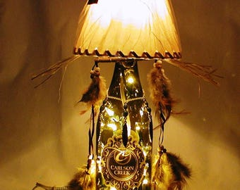 Souvenir from Arizona. Southwest/American Indian/Cowboy Wine Bottle Table Lamp.  FREE SHIPPING.