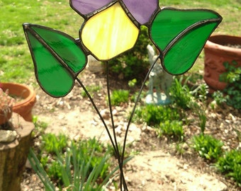 Pansy Stained Glass Sun Catcher