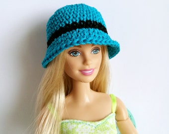 Turquoise blue Barbie doll cloche hat with flower, fashion doll hat, clothes
