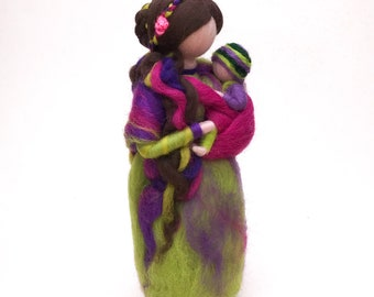 Needle felted waldorf mother and child