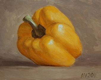 Yellow Pepper - 6x8 oil on board daily painting by Aleksey Vaynshteyn