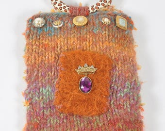 Hand Knit Orange Felt Bag - Tequila Sunrise