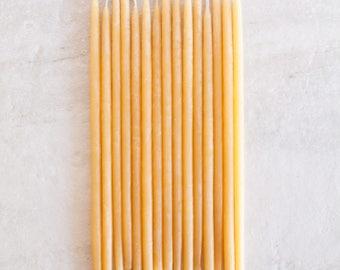 6 Inch Hand Dipped Beeswax Birthday Candles // Natural