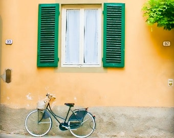 Celebrate Me Home - Tuscany, Italy - Fine art travel photography - bike art - window, shutters - kelly green, soft grey, ivory