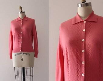 vintage 1950s cashmere cardigan // 50s pink cardigan sweater