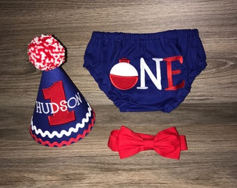Boys Cake Smash Outfit - Fishing Party - Ofishally One - Diaper Cover, Bow Tie & Birthday Hat - Shirt - Bobber - First 1st Birthday
