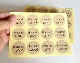 24 kraft thank you sticker - thank you label - favor sticker - wedding round thank you sticker - wedding favors - envelope seals - circle