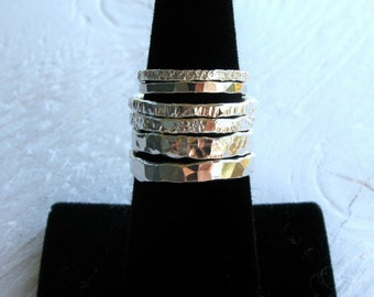 Simple silver rings, 4 hand forged stackable bands, FOUR rings