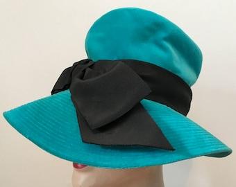 Vintage 60s Mr. John Jr. Floppy Hat 21 Touquoise Velvet with Large Black Bow