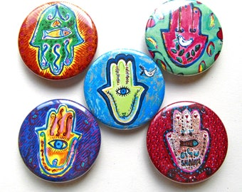 Hamsa Hand Magnets, Jewish Gifts, Jewish symbols, Jewish Art, Hamsa Paintings, Judaica, Amulet, Fridge Magnets, Jewish Holidays, Peace Dove
